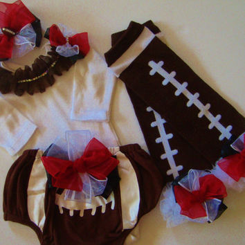 Baby Girl Football Outfit  bloomers leg warmers one piece with ruffled rhinestone collar headband bow you choose team colors
