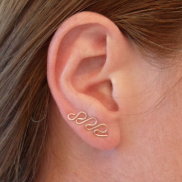 Swirl Earring, ROSE Pink Gold OR Gold. SINGLE. Can be worn as ear sweep or dangle. Hypoallergenic. Waterproof