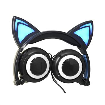 Lovely Cat Ear Headphones Foldable Wired Over Ear Kids Glowing Light Headphone