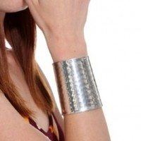 """ZAD AWESOME XX-Wide 3"""" Hammered Silver Tone Cuff Bracelet"""