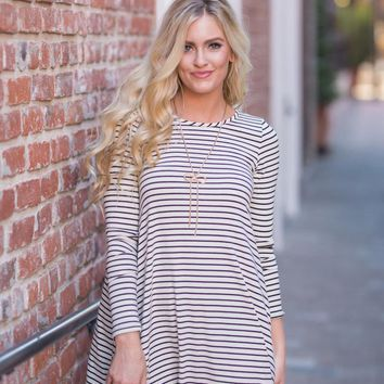 Karen Black and White Stripe Swing Dress