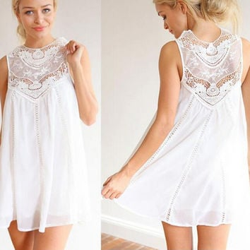 Summer Casual Loose Sexy Charming Sleeveless Lace Dress White