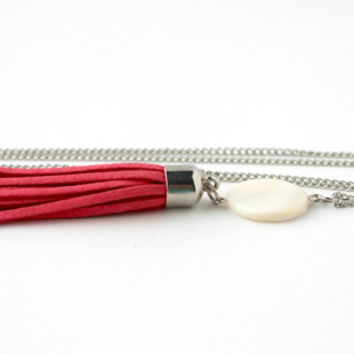 Coral Pink and Cream Shell and Leather Tassel Pendant - Trendy Bohemian Handmade Jewelry - Long Tassel Necklace - Ready to Ship