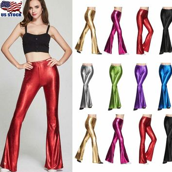 Women Wet Look Metallic Long Flared Pants Leggings Bell-bottom Trousers Clubwear