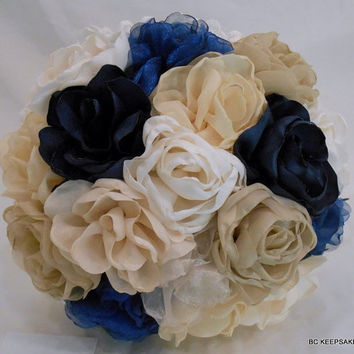 Satin Wedding Bouquet Shabby Chic in Indigo Navy Blue Ivory and Creams