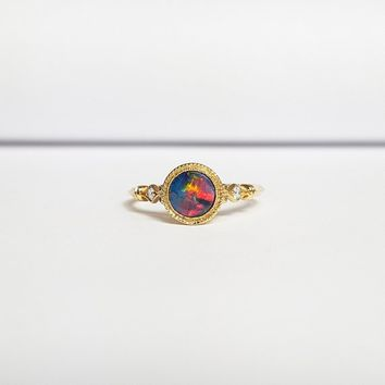 Black opal doublet and diamond art deco 1920's three stone trilogy engagement petite minimal thin band ring handmade in 14ct gold