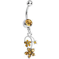 Yellow Gem Tri Flower Strand Dangle Belly Ring | Body Candy Body Jewelry