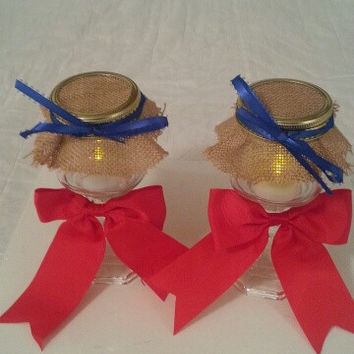 Burlap red and blue wedding candle jar / center piece set. Any color to match your wedding