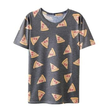 New Summer Style Women T-shirt Pizza Printed Tumblr Cute Female Tee Tops O-Neck Short Sleeve T Shirts