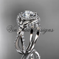 "Platinum leaf and vine, flower engagement ring, ""Forever One"" Moissanite VD10065"