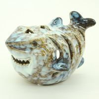 Ceramic Shark-Shaped Candle Holder