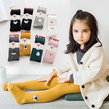 Spring Autumn Girls Tights Cartoon Baby Girl Pantyhose Fashion Knitted Cotton Cute Kids Stocking Baby Pantyhose For 2-10T