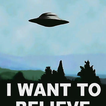 X-Files 200gsm poster - I want to believe, classic movie, TV series poster, enhanced, unique, altered, UFO print, high resolution at 300DPI