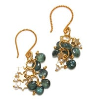 Teal Sapphire Earrings Gold Vermeil Star Keshi Pearl Cluster Earring Teal Green Handmande Gemstone Jewelry