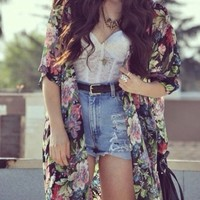 Shorts: necklace, belt, flowers, blouse, bag, jacket, shirt - Wheretoget