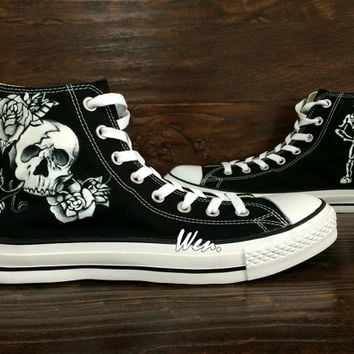 Skull Converse Skull Shoes Custom Hand Painted Shoes,Converse Shoes,Painted Shoes Custom Shoes Painted Custom Converse Canvas Shoes Gifts