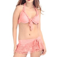 Crochet Push Up Two Piece Swimsuit