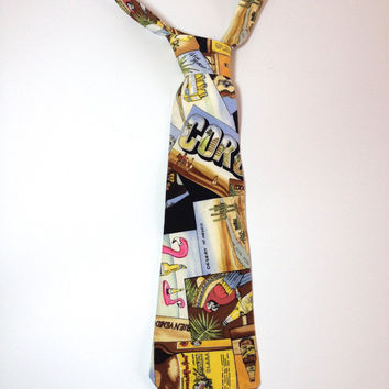 Vacation in Mexico, Novelty Silk Tie by American Fashion Designer Nicole Miller, Silk Necktie, Corona Beer, Pacifico Beer, San Miguel Beer
