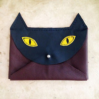 Handmade Leather navy burgundy and yellow envelope style cat wallet with silver hardware
