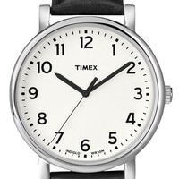 Timex 'Easy Reader' Leather Strap Watch, 42mm - White/ Black
