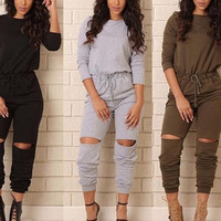 High quality slim temperate fashion casual rompers full sleeve sweat suit women long rompers OM519
