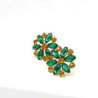 Green Amber Rhinestone Gold Tone Clip On Earrings Pat 1967985 High End Fashion Designer Vintage Costume Jewelry Yellow Art Deco 1930
