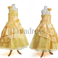 Custom Yellow Beaded Tiered Flower Girl Dresses New Beautiful Fashion Girls Dress Junior Bridesmaid Dresses Pageant Bridal Dress