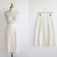 Vintage 80s Ivory White Button Up Full Midi Skirt | size 4 6