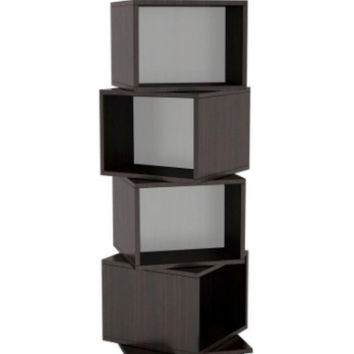 Rotating Cube 216- Disc Capacity Espresso Media Tower Home Furniture in Espresso