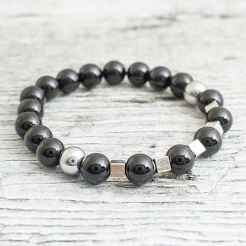Black onyx beaded stretchy bracelet with silver plated hematite cubes and balls, mens bracelet, womens bracelet