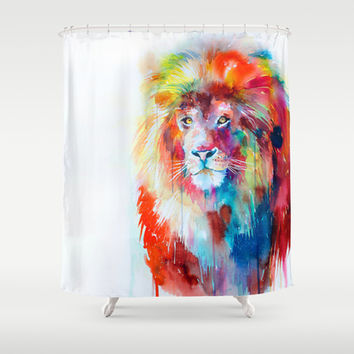 Lion Shower Curtain by Slaveika Aladjova