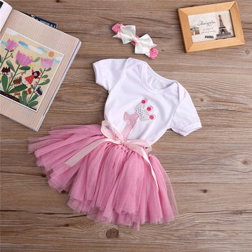 3PCS New Baby Girl 1st Crown Romper Headband Birthday Tutu Skirt Outfit Set