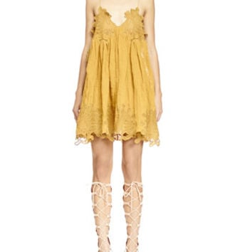 Chloe Peacock-Embroidered V-Neck Shift Dress, Mustard