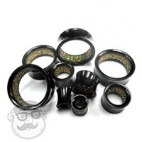 Black Tunnels With Gold Glitter Inlay (0 Gauge - 1 Inch) | UrbanBodyJewelry.com