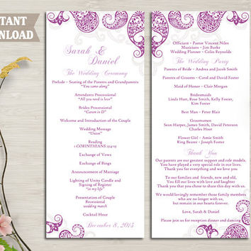 Wedding Program Template, Printable Bollywood Wedding Program DIY Eggplant Indian Paisley Program Purple Card Editable Text Instant Download