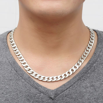 New Cool Men Necklace Titanium Steel Silver Jewelry gift for husband Vintage Link Chain Genuine Solid Titanium Steel Thick Chain