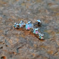 Light Blue Fire Opals Stud Cartilage Earring 5 Fire Opals Piercing16g  Upper Ear Jewelry