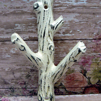 Tree Branch Wall Hook Shabby Cottage Chic Cream Off White Distressed Mudroom Leash Towel Keys Nature Rustic Woodsy Cabin Home Decor Design