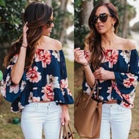 Fashion Flower Print Off Shoulder Long Sleeve Women Casual Frills T-shirt Tops
