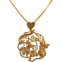Massive and glamorous Art Nouveau Bacchus inspired 18K solid gold heart and grapevine necklace with chain Hallmarks
