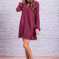 Style Guide Dress, Burgundy