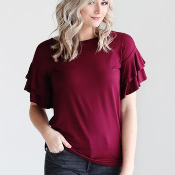 Burgundy DLMN Tiered Ruffle Sleeve Tee