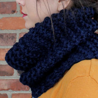 SCARF - COWL Scarf - INFINITY Scarf - Knit Scarf in Navy Blue - Fall Fashion Scarf - Winter Fashion Scarf