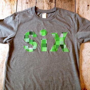six spelled Triblend grey tnt ANY NUMBER green 8 pixel video game Fabric Birthday Shirt older kids 6th 6 birthday boy tnt water land