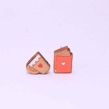 Coffee and book laser cut and hand painted wooden stud earrings