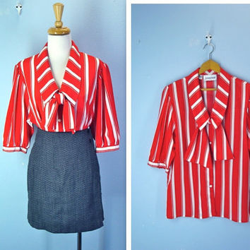Vintage Red Blouse / 1970's Striped Ascot Tie Red by SnapVintage