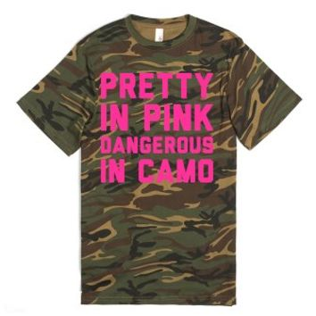 Pretty in Pink, Dangerous In Camo-Unisex Green T-Shirt