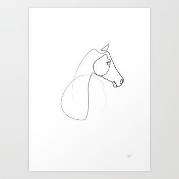 One line Horse 0110 Art Print by quibe