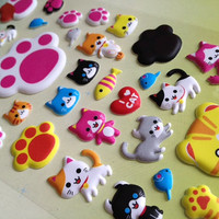 3d puffy cat paw meow meow sticker little cartoon cat smile little cat sticker my pet cat colorful cat yellow kitty happy cat baby pussy cat