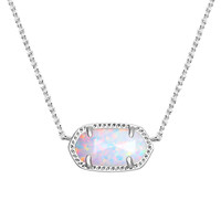 Elisa Silver Pendant Necklace in White Kyocera Opal - Kendra Scott Jewelry